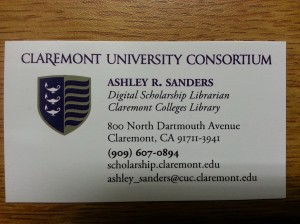 Ashley Sanders becomes the new Digital Scholarship Librarian at the Claremont Colleges Library.